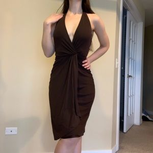 Gucci sexy brown low back cocktail dress